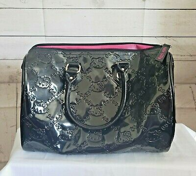 acc5c3653 Hello Kitty Loungefly Sanrio Shiny Black Patent Embossed PURSE RARE  Collectible