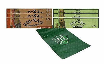 Zig Zag Unbleached King Size Paper 3 Packs,Organic Green King Size 3 Packs &more