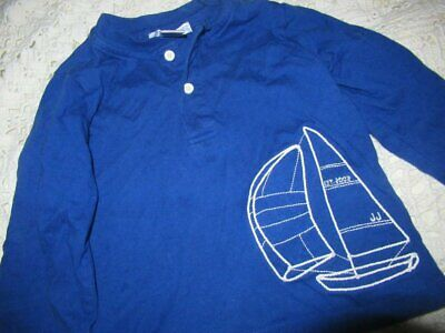 euc Janie and Jack royal blue sailboat long sleeve shirt baby boy 12 m 18 m