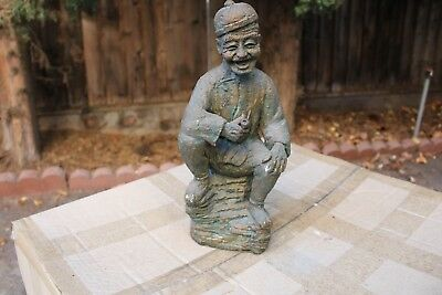 Antique Chinese stone statue happy old guy 6 lbs