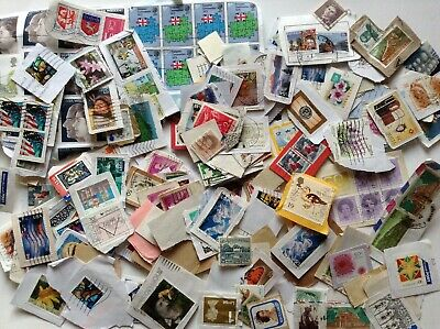 WW KILOWARE USED STAMPS 400 GRAMS ON PAPER about 2000 stampsA