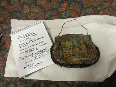 Guy Selling Antique/Vintage Needlepoint Petit Point Floral Tapestry Purse