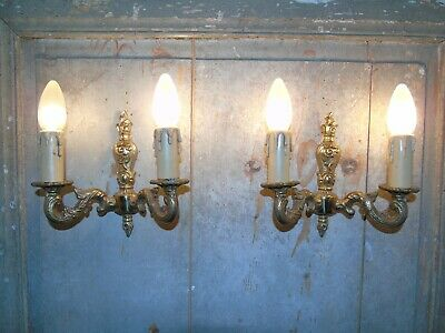 French a pair of patina gold bronze wall light sconces beautiful vintage