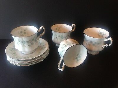 4 Paragon China Debutante Teacup and Saucer Made in England Never Used