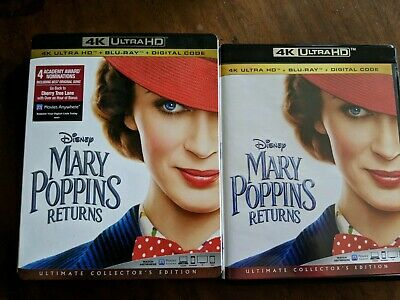 Disney Mary Poppins Returns (4K Ultra HD + Blu-ray + Digital) W/Slipcover NEW