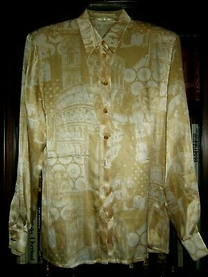 2677147d0ce402 Escada Silk Vintage Blouse In Soft Beige In Abstract Print 36 Fits 12  Germany