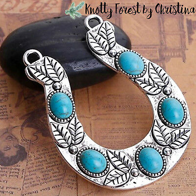 Horseshoe Connector Charms Antique Silver Tone with Faux Turquoise SC6710