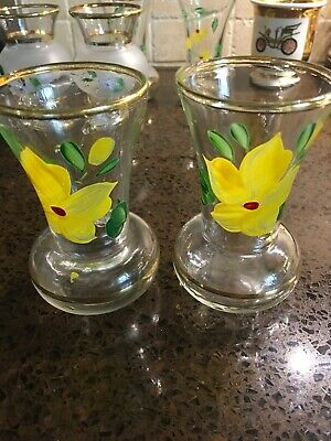 Pair of Vintage Miniature Glass Bud Vases~Hand Painted~Gold Rim~yellow Flower
