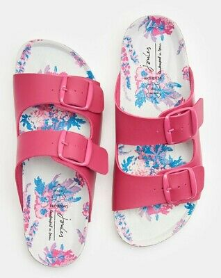 Joules NEW Penley white navy geo floral two strap comfort flat slide sandals 3-8