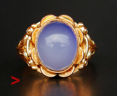 1956 Vintage European Ring solid 18K Gold 5ct Blue Cacedony Size 8.75US /4.8g