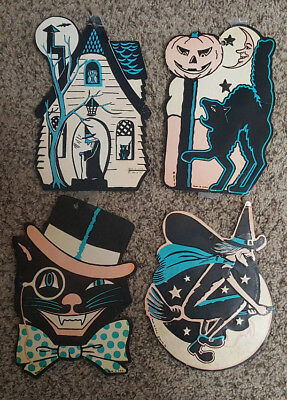 Rare Vintage Beistle 4 Halloween Paper Decoration Die Cut Out Witches Cat Moon