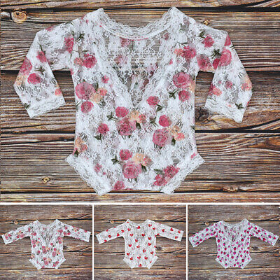 Newborn Baby Infant Girl Lace Romper Bodysuit Jumpsuit Photography Prop Costume