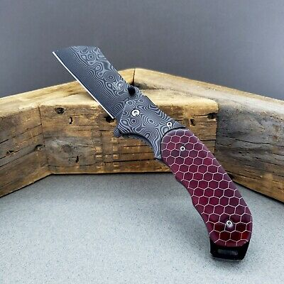 "8"" Damascus Pattern Sheep Foot Blade Spring Assisted Pocket Folding Knife"