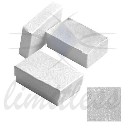 White Swirl Cardboard Jewelry Boxes  Cotton Gift Boxes 12-25-50-100