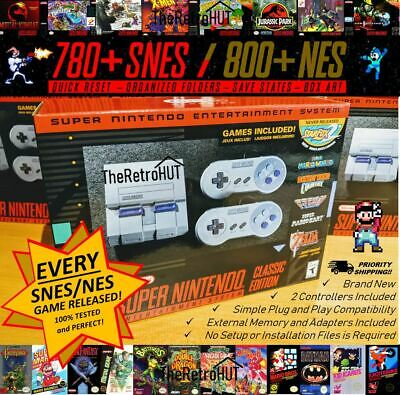 SNES 1580+ Games (Complete Snes & NES Library EVER) Mini Classic Modded - NEW!
