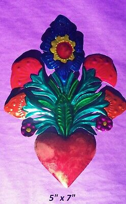 """Sacred Heart & Flowers Mexican Handmade Painted Tin Milagro Style Art 7""""x5"""""""