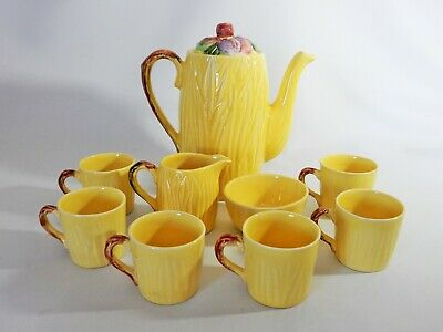 Superb RARE Antique Art Deco Shorter & Son Coffee Set Pot Mugs Yellow Fruit 9pc