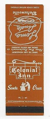 Vintage Matchbook Cover Adv. The Colonial Inn in Santa Cruz, Calif.