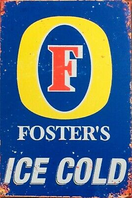Fosters Lager ice cold beer. beverage bar brand new tin metal sign MAN CAVE