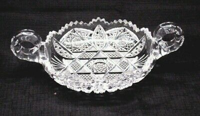 Antique Abp American Brilliant Heavy Thick Cut Glass Nappy Dish Handled 10""