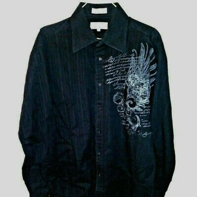 Men's Affliction Shirt Sz Large Eighty Eight Graphic Black Suede/velvet like EUC
