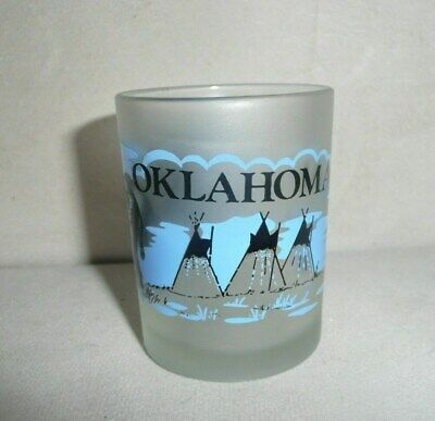 Oklahoma Frosted Sooner State Shot Glass Shotglass Buffalo Teepee