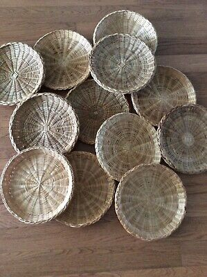 Lot/Set Of 12 Vintage Wicker,Rattan,Bamboo Paper Plate Holders camping picnic