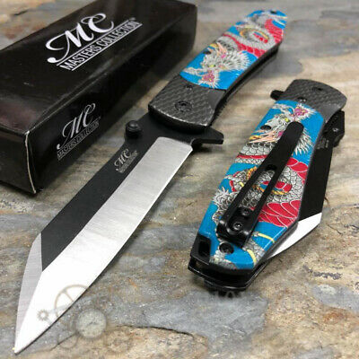 Master Collection Dragon Print Handle Spring Assisted Pocket Knife [Blue]