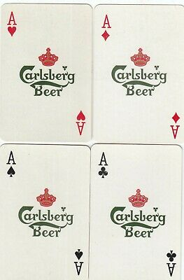 ACE of SPADES & SUIT ACES - Carlsberg Beer - 4 single vintage playing cards