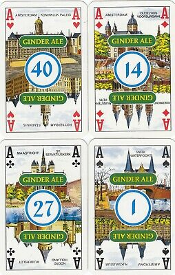 ACE of SPADES & SUIT ACES - Ginder Ale  - 4 single vintage playing cards