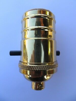 Two Heavy Standard Solid Brass Polished Push On Off Switch Lamp Light Socket