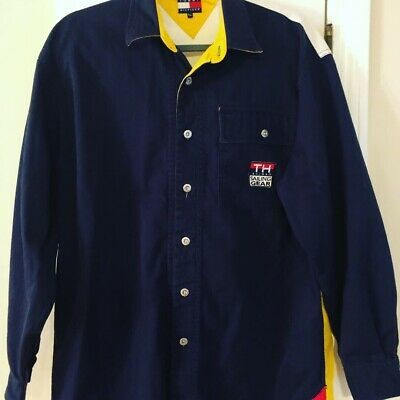 adf500dbfb8 Tommy Hilfiger Sailing Gear Mens Small Button Shirt Color Block Vintage RARE
