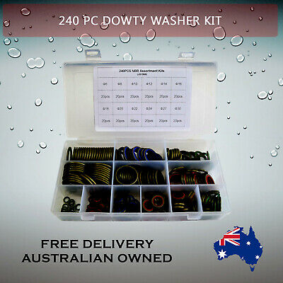 240 Piece Dowty Washer Kit Bonded Oil seal Colour Coded 12 sizes 6 mm - 30 mm .