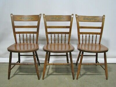 Group of Three 1970's Hitchcock Furniture Stenciled Maple Side Chairs