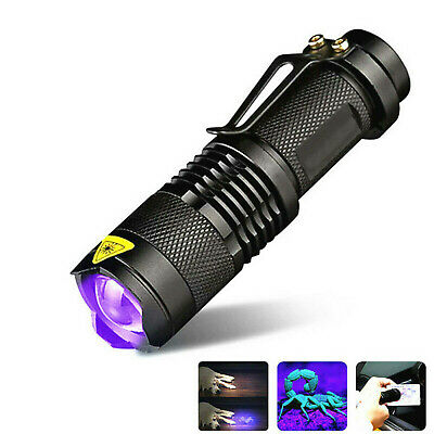 UV Ultra Violet LED Flashlight 395/365 nM Blacklight Light Inspection Lamp Torch