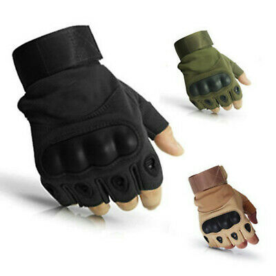 Motorcycle Half Finger Gloves Tactical Fingerless Knuckle Cycling Shooting Men