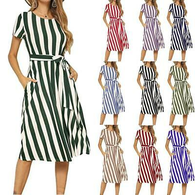 Women Striped Short Sleeve Lace Up Casual Swing Dress with Pockets U8HE