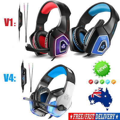 V1/V4 gaming headset PS4 Xbox One PC Controller Over Ear Headphones W/Mic LED AU