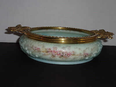 Antique Victorian C.F. Monroe Wavecrest Gilt Ormolu Large Low Bowl Handpainted