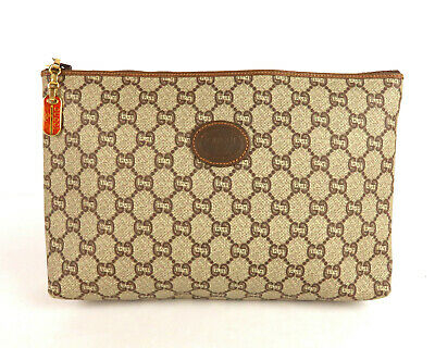 e6e449832 100% Authentic GUCCI PLUS GG PVC Canvas Leather Clutch Bag Brown Made In  Italy