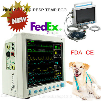 FDA VET Veterinary Patient Monitor, ICU Vital Sign ecg+nibp+spo2+pr+resp+temp