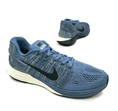 sports shoes 9b8fa cc2db NIKE LUNARGLIDE 7 Lunarlon Blue Grey Black Running Shoes 747355-403 Men's  Sz 12