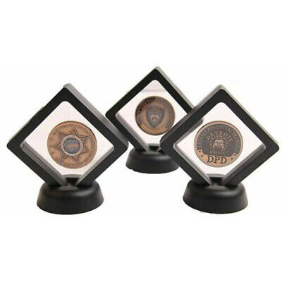 Black 3D Floating Coin Display Frame Holder Box Case Stand Tools 50*50mm 2pcs
