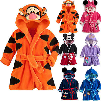 Kids Girls Boys Bathrobe Hooded Sleepwear Pajamas Nightwear Dressing Gown Winter