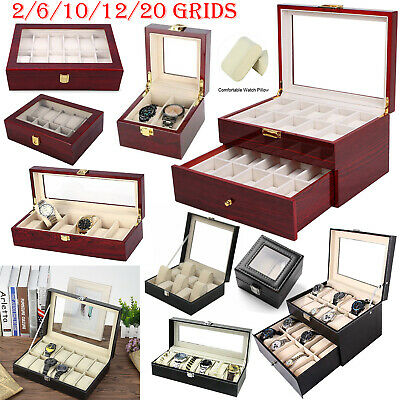6/10/12/20 Faux Leather/Wood Watch Case Display Box Storage Jewellery Glass Top