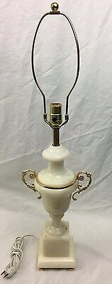 VINTAGE Estate Alabaster Carved Stone Marble type Table Lamp light Made in Italy