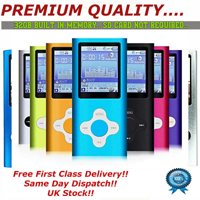 "MP3 MP4 IPod Style 32GB Portable 1.8"" LCD Music Video Media Player FM Radio"