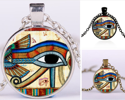 Egyptian Eye of Horus Ra Udjat Glass Art Pendant Chain Amulet Pagan Necklace UK