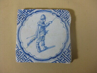 17th C  DUTCH DELFT TILE  SOLDIER WITH MUSKET