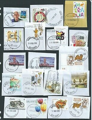 Australia - 18  Stamps With South Australia  Postmarks On Paper